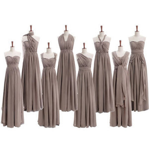 Most Popular Convertible Pleats Chiffon Gray Simple  Cheap Long Bridesmaid Dresses for Wedding Party, WG68