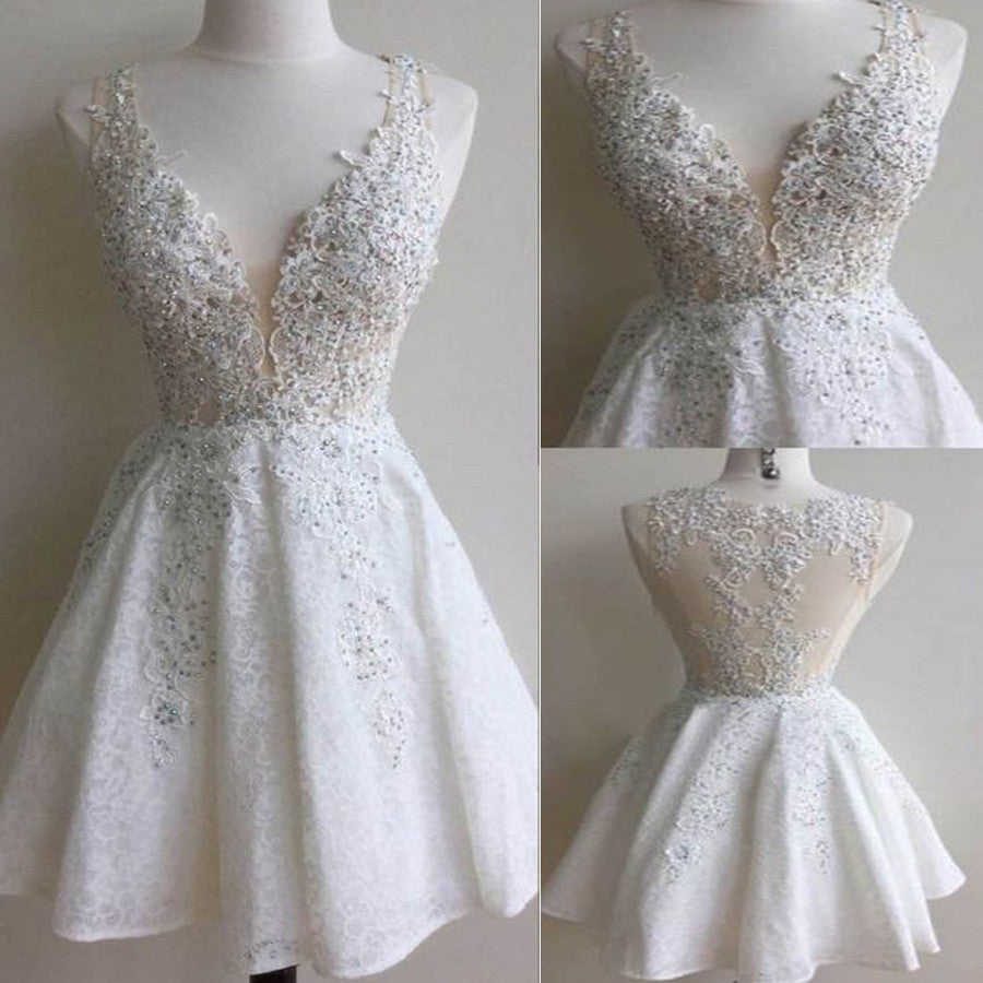 Junior Lovely White Lace Appliques Clairvoyant Outfit Deep V-neck  Homecoming Prom Gowns Dress,BD0069