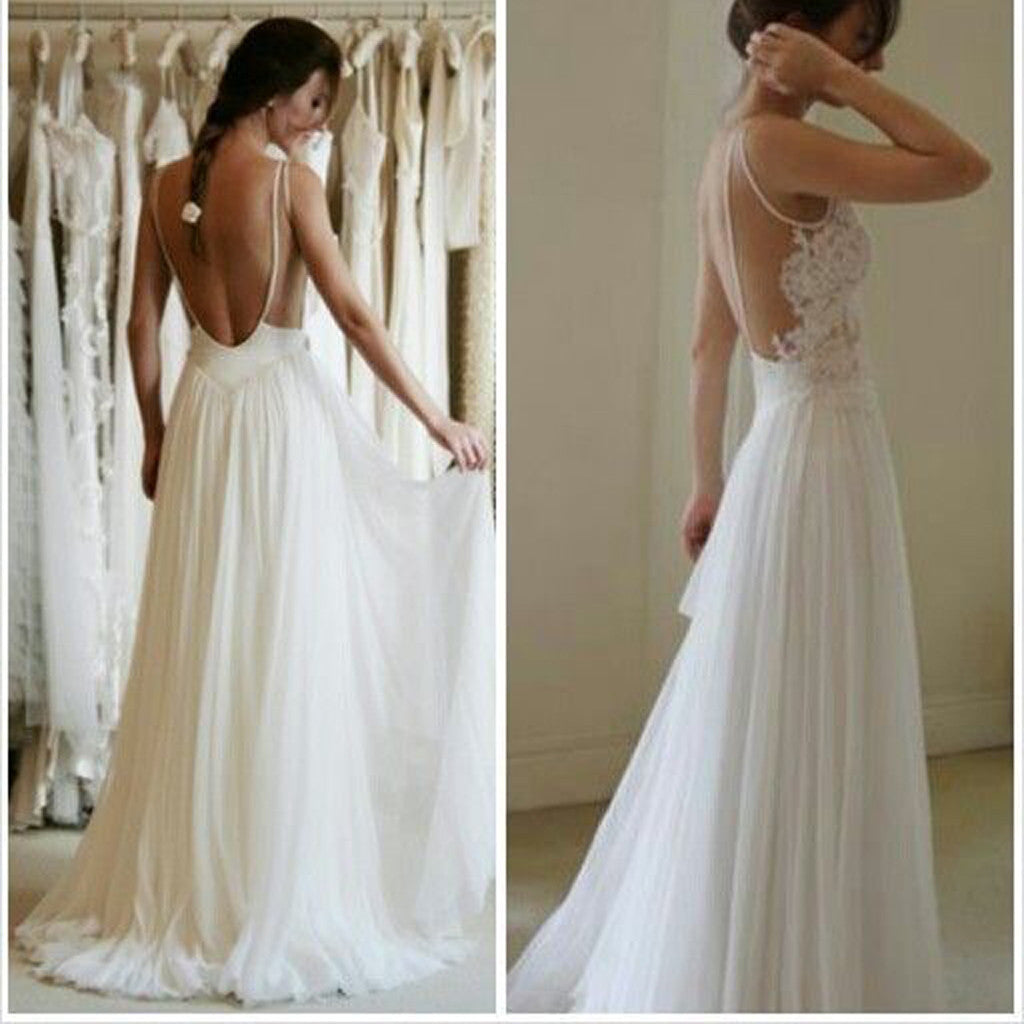 Cheap summer simple illusion strap sexy backless lace for Simple elegant wedding dresses cheap