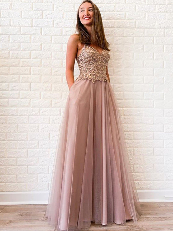 Charming Spaghetti Strap Floor-length Tulle Beads Long Prom Dresses Evening Dresses.DB10601