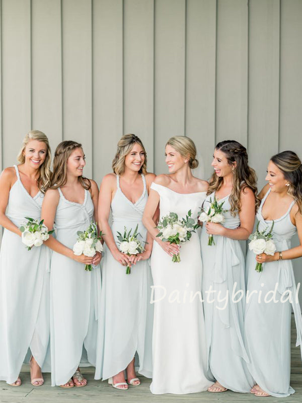 Charming V-neck A-line Chiffon Side Slit Long Bridesmaid Dresses.DB10426