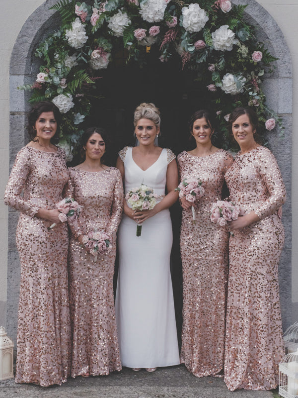 Best Scoop Neck Mermaid Long Sleeve Sequin Evening Dresses Party Long Bridesmaid Dresses.DB10660