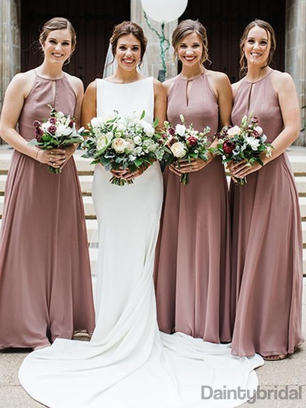 Sleeveless Chiffon A-line Floor Length Long Bridesmaid Dresses.DB10231