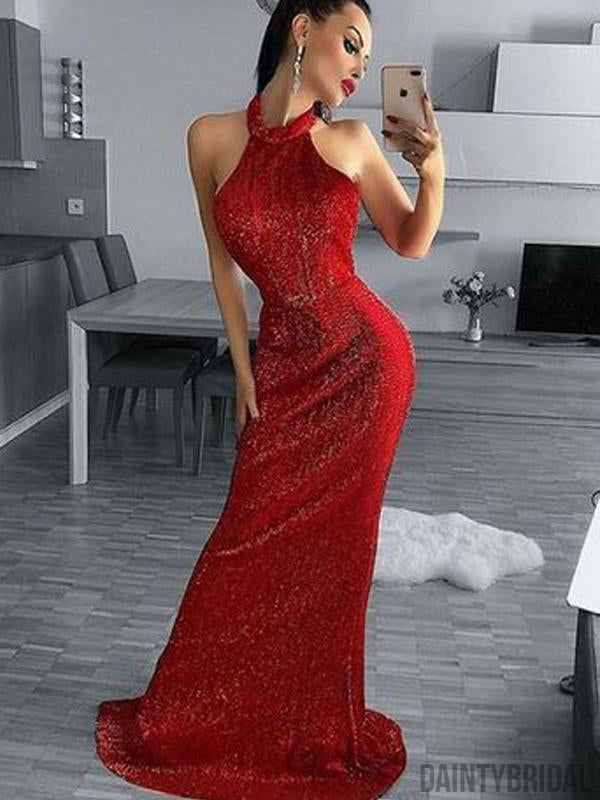 Charming Sexy Mermaid Halter Backless Red Sequins Long Prom Dresses,Evening Party Dresses.DB10216