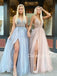 Sexy V-neck A-line Tulle Long Evening Prom Dresses Fashion Dresses.DB10396