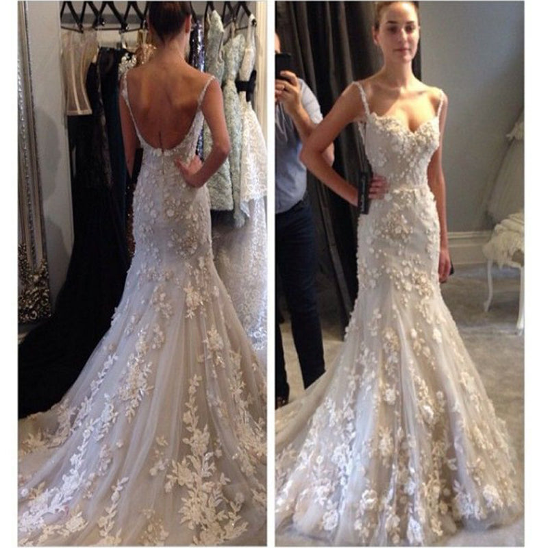 Elegant Appliques Spaghetti Straps Sweetheart Backless Mermaid Sexy Unique Style Wedding Dress, WD0101