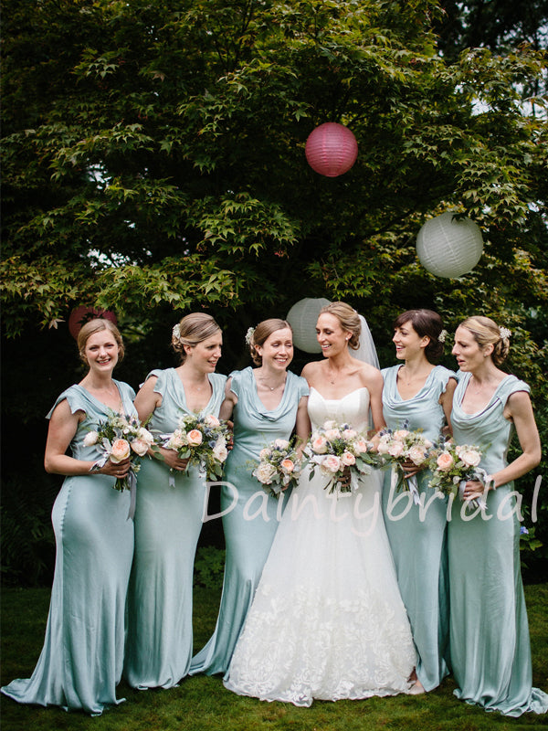 Charming Scoop Neck Mermaid Long Bridesmaid Dresses.DB10466