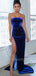 Straight Side Slit Velvet Sleeveless Long Prom Dresses Evening Dresses.DB10377