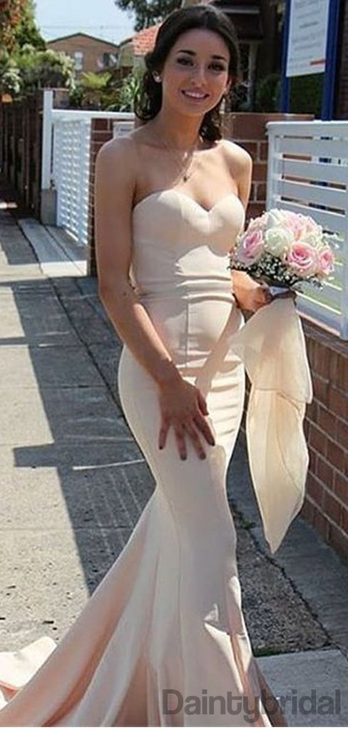 Mermaid Sweetheart With Sweep Train Long Bridesmaid Dresses.DB10157