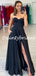Sexy Black Sweetheart Side Slit A-line Satin Prom Dresses Evening Dresses.DB10791
