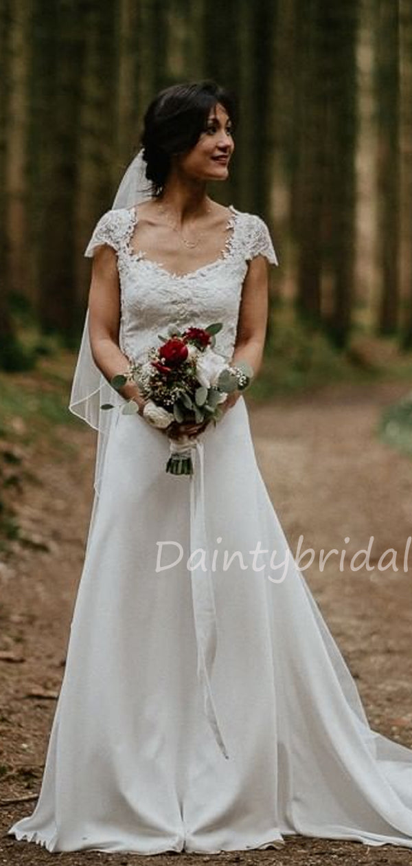 New Arrival Queen Anne Lace A-line Long Wedding Dresses.DB10477