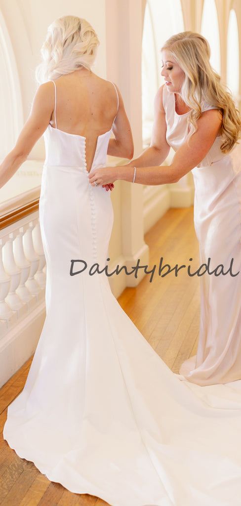 Affordable Sexy Spaghetti Straps Mermaid Sleeveless Long Wedding Dresses, DB10682
