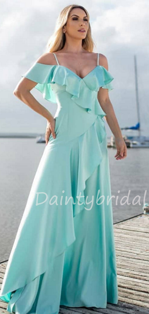 Charming V-neck Off-shoulder A-line Soft Satin Long Prom Dresses Evening Dresses.DB10487