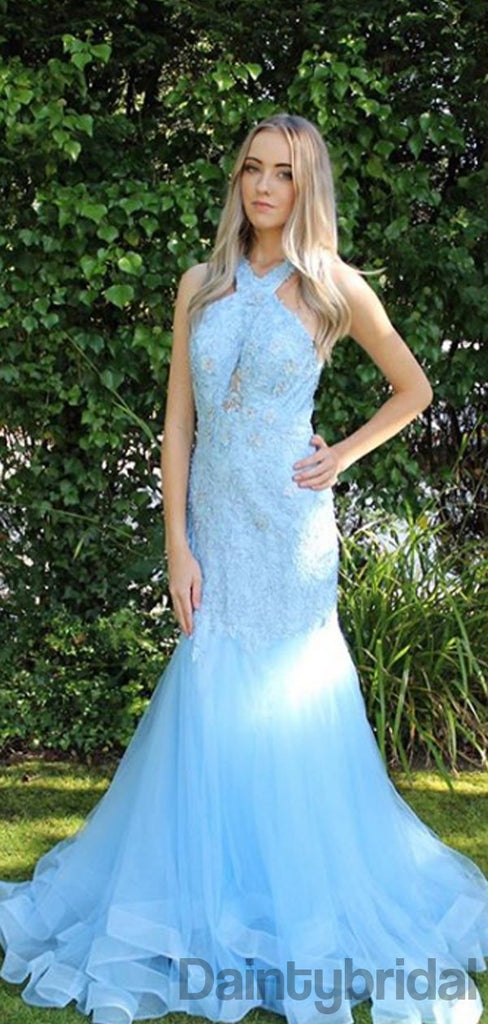 Halter Mermaid Lace Long Prom Dresses Evening Dresses.DB10314