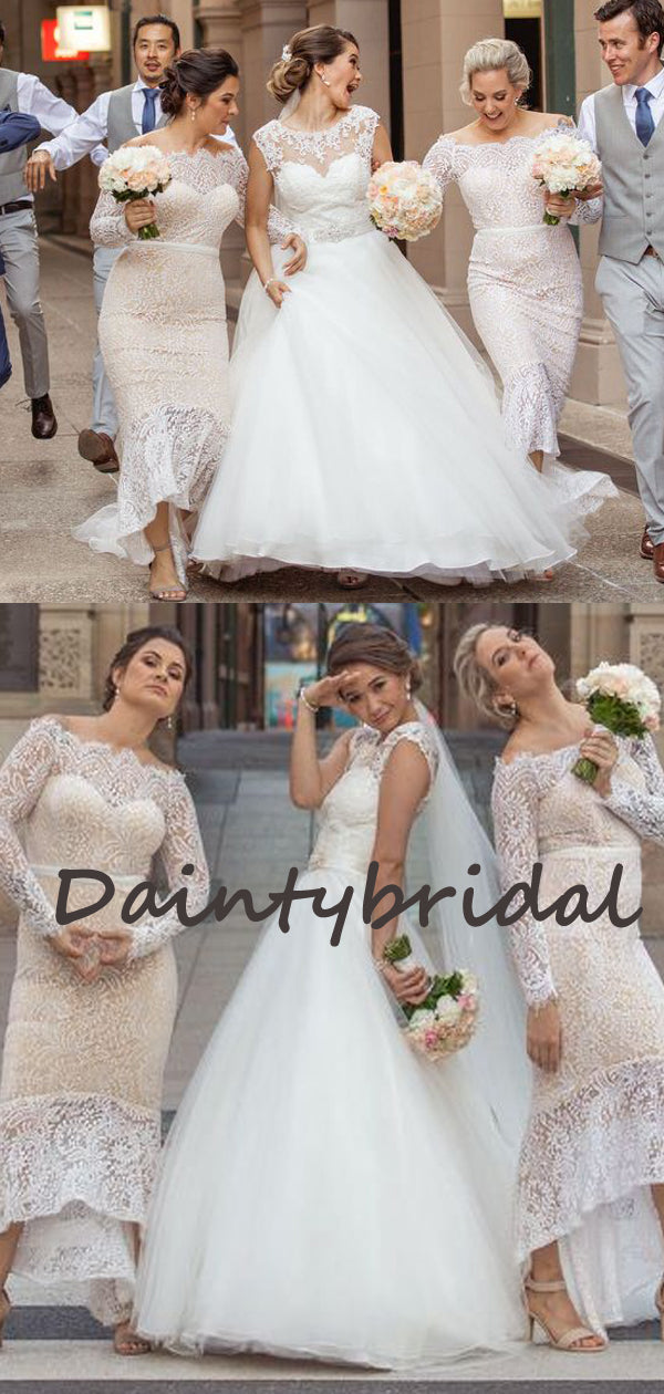 Mermaid Charming Straight Long Sleeve Lace Evening Dresses Bridesmaid Dresses.DB10722