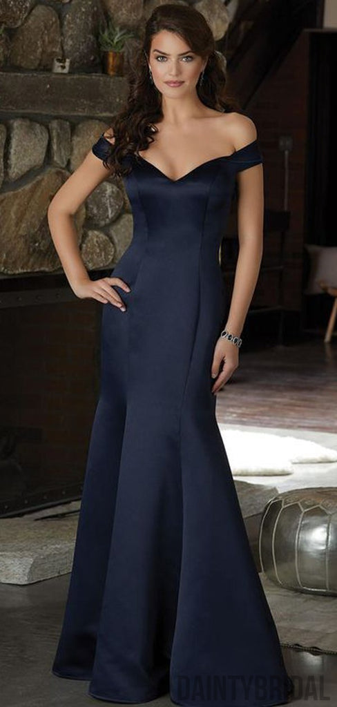 Mermaid Off-shoulder Satin Long Prom Dresses,Evening Party Dresses.DB10217