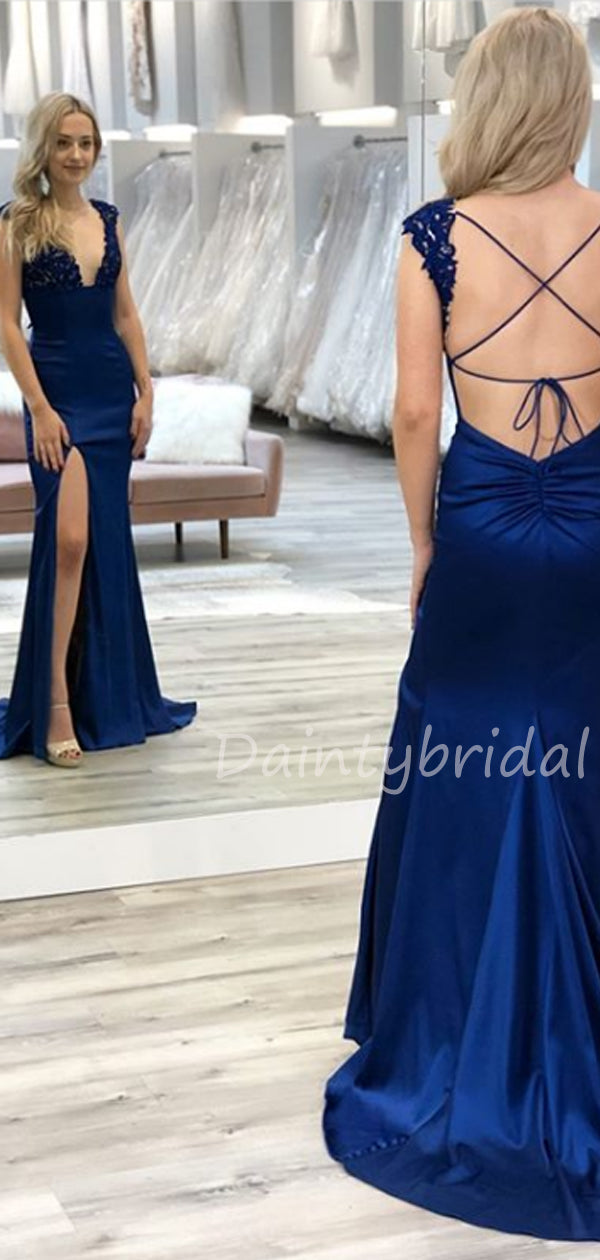 New Arrival Deep V-neck Mermaid Open Back Side Slit Fashion Prom Dresses Evening Dresses.DB10497