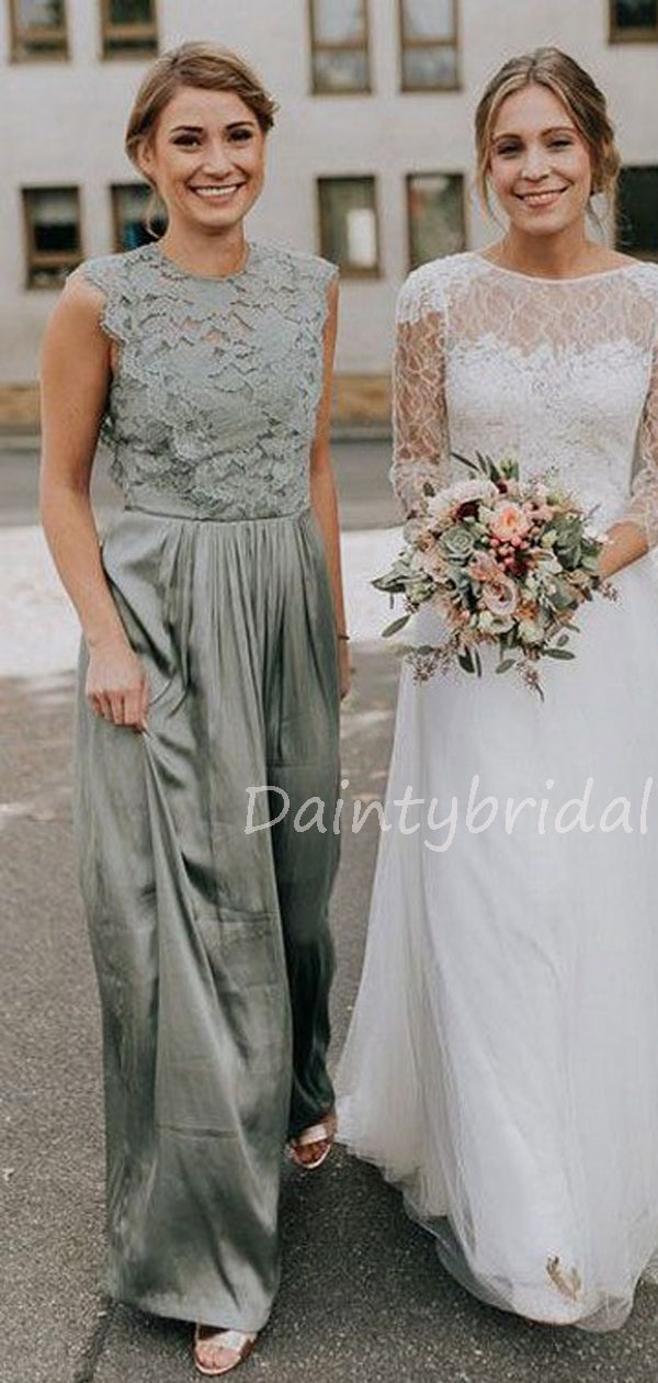 Charming  A-line Lace Floor Length Long Bridesmaid Dresses.DB10527