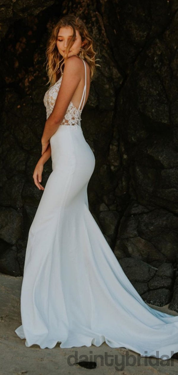 Mermaid Sexy V-neck Lace Open Back Wedding Dresses,DB10257