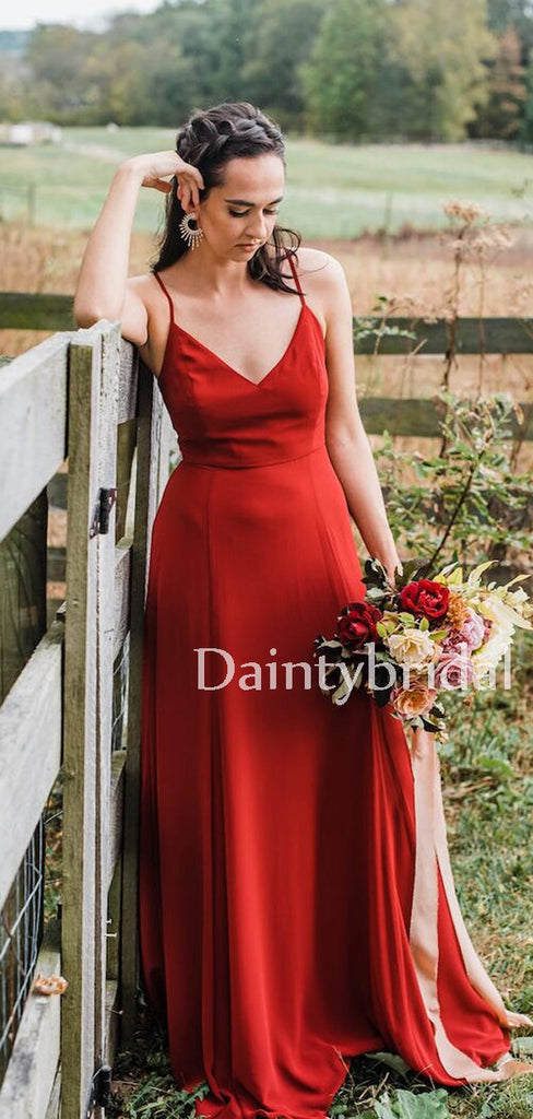 Gogerous Spaghetti Strap V-neck Chiffon Long Bridesmaid Dresses.DB10632