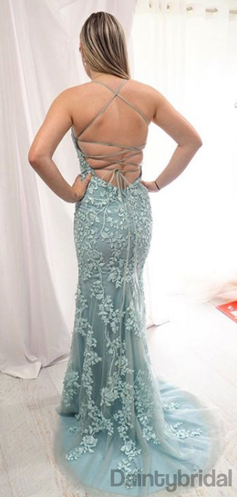 Sexy V-neck Lace Mermaid Zipper Up Long Prom Dresses Evening Dresses.DB10232