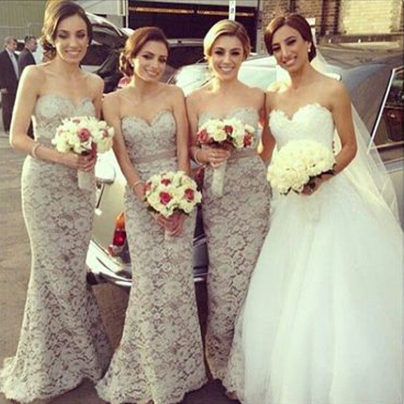 Vintage Full Lace Sweetheart Strapless  Mermaid Floor Length Elegant Wedding Guest Long Bridesmaid Dresses, WG71