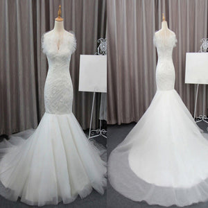 Gorgeous Elegant White Lace Mermaid Sleeveless Tulle Ruffles Collar Chapel Trailing Wedding Party Dresses,  WD0072