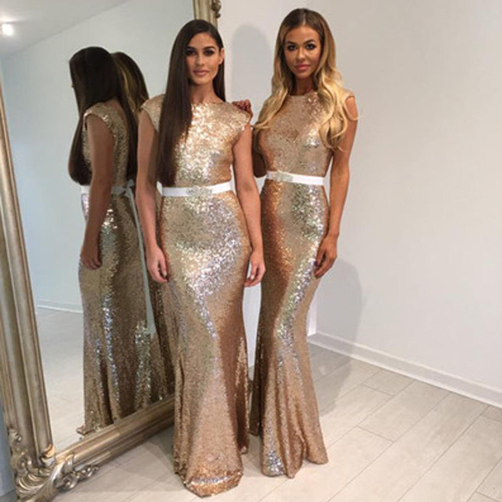 Fashion Design Shinning Sequin Elegant Mermaid Rhinestone Sash Backless Long Bridesmaid Dresses, WG72