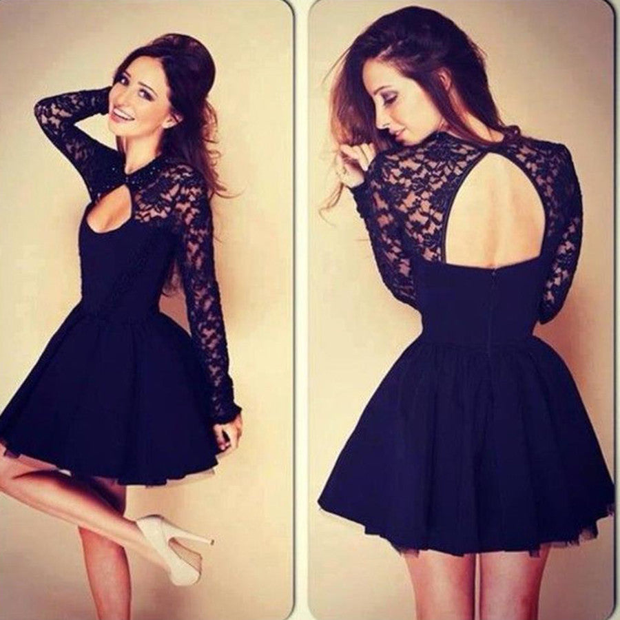 Long Illusion Sleeve V Neck Open Back Black Clairvoyant Outfit Lace Homecoming Prom Dress,BD0072