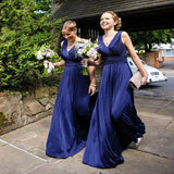 Cheap Elegant Pleats Chiffon Sleeveless V-Neck Simple A-line Royal Blue Floor Length Bridesmaid Dresses, WG73