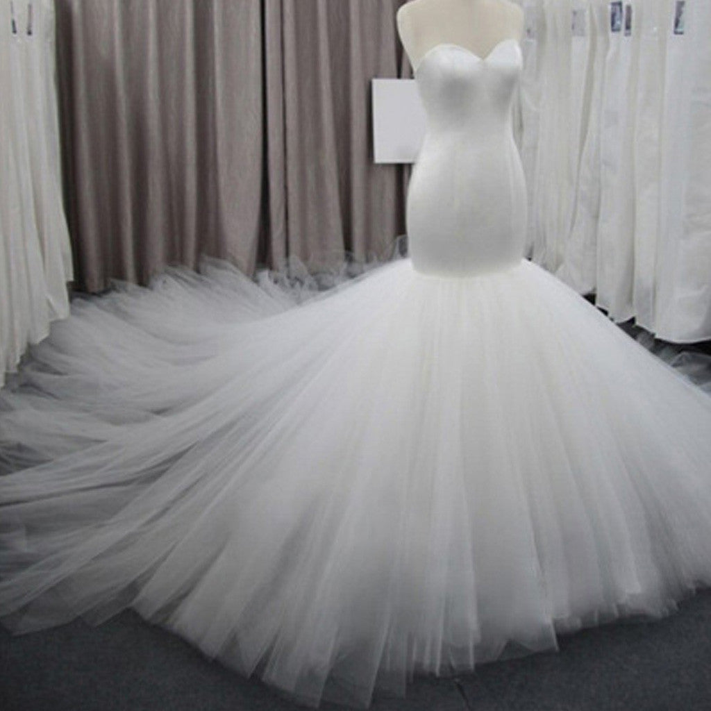 Simple Strapless Mermaid Backless Sweetheart Tulle Cathedral Train Wedding Party Dresses, WD0073