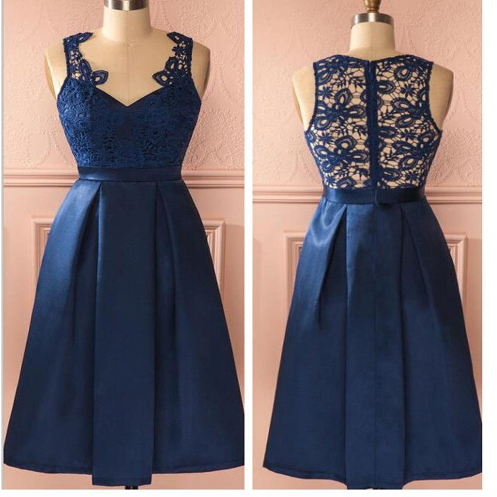 Vintage Royal Blue V Neck Lace Clairvoyant Outfit Back Tea-Length Homecoming Prom Dress,BD0073