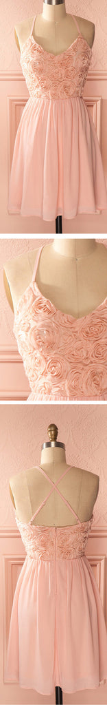 Romantic Peach Pink Spaghetti Strap Dimensional Rose Appliques Knee Length Homecoming Prom Dress,BD0074