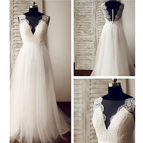 Cheap Simple Elegant Lace V-Neck Deep V-back Sleeveless Floor Length Wedding Bridal Gown Dresses. WD0210