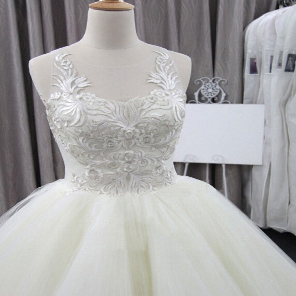Sleeveless Scoop Yarn Neck  Lace Ivory Tulle Asymmetrical Ball Gown Cathedral Train Wedding Dresses, WD0074