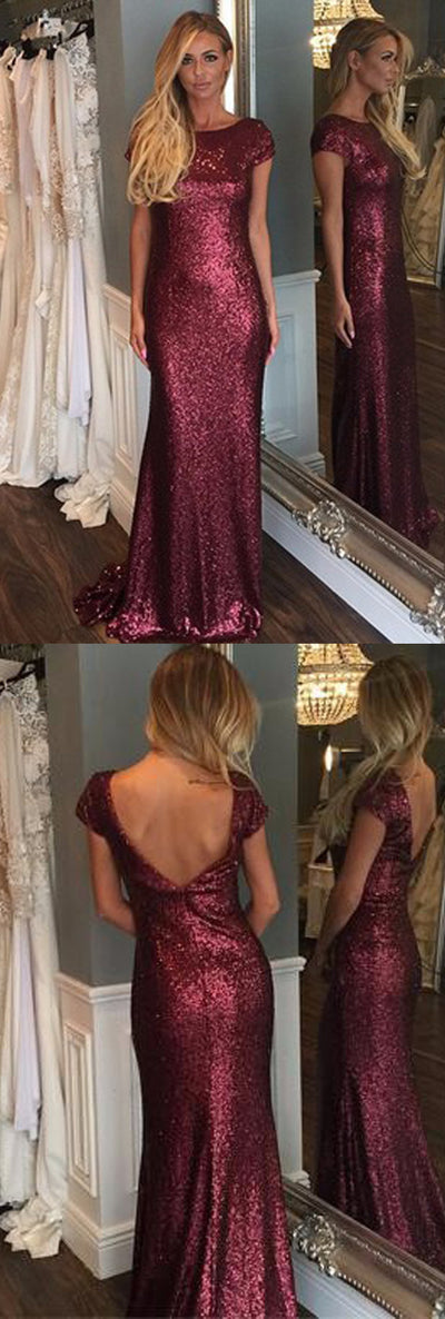 Sexy Short Sleeve Bateau Neck Open Back Sparkly Full Sequins Mermaid Sweep Trailing Bridesmaid Dresses, WG75