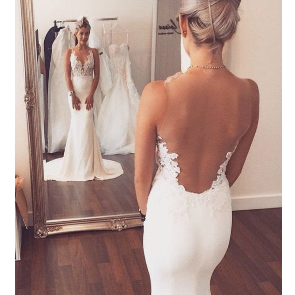 Mermaid Lace Deep V=neck Open Back Long Train Beach Simple Vintage Wedding Bridal Dresses. DB0200