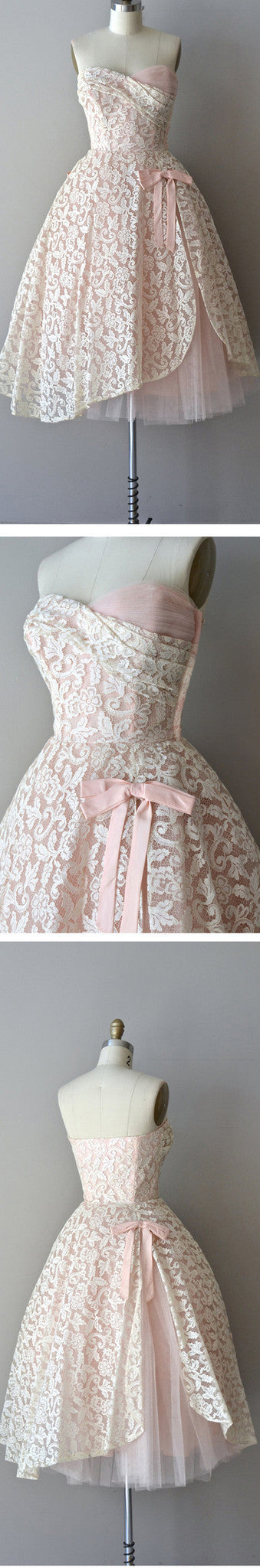 Junior Lovely Strapless Pink Lace Vintage Sweetheart Bow Knot Tea-length Homecoming Prom Dress,BD0075