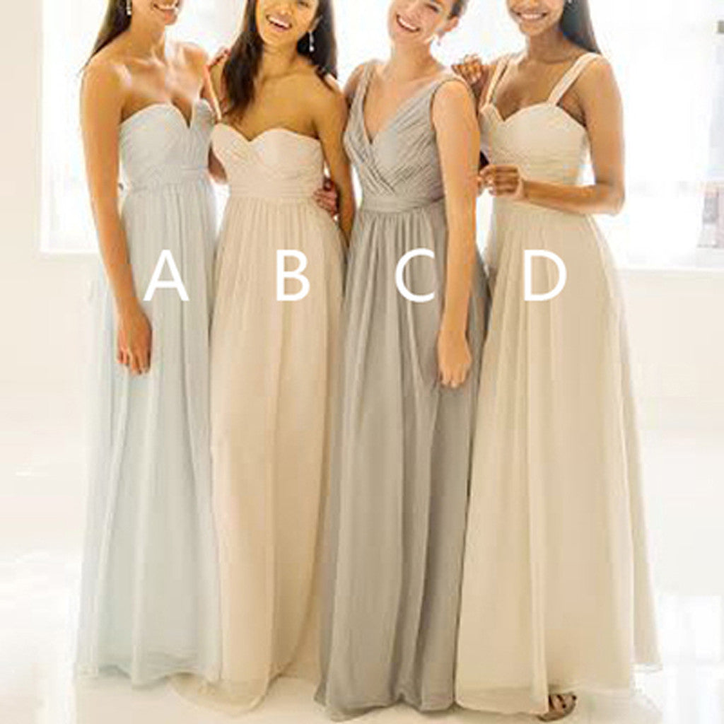 Cheap Popular Summer Mismatched Simple Chiffon Floor-Length Pleats A-line Bridesmaid Dresses, WG076