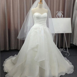 Cheap Simple Elegant Sweetheart Strapless Pleats White Chiffon Ball Gown Wedding Party Dresses, WD0077