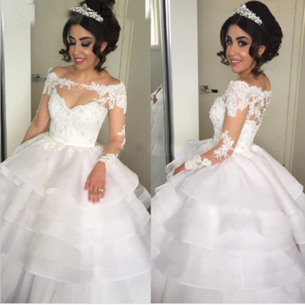 Long Illusion Sleeve Off Shoulder Lace V-neck Tiered Skirts Ball Gown Vintage Wedding Bridal  Dresses. DB0280