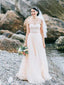 Affordable Spaghetti Strap Tulle A-line Long Wedding Dresses.DB10622