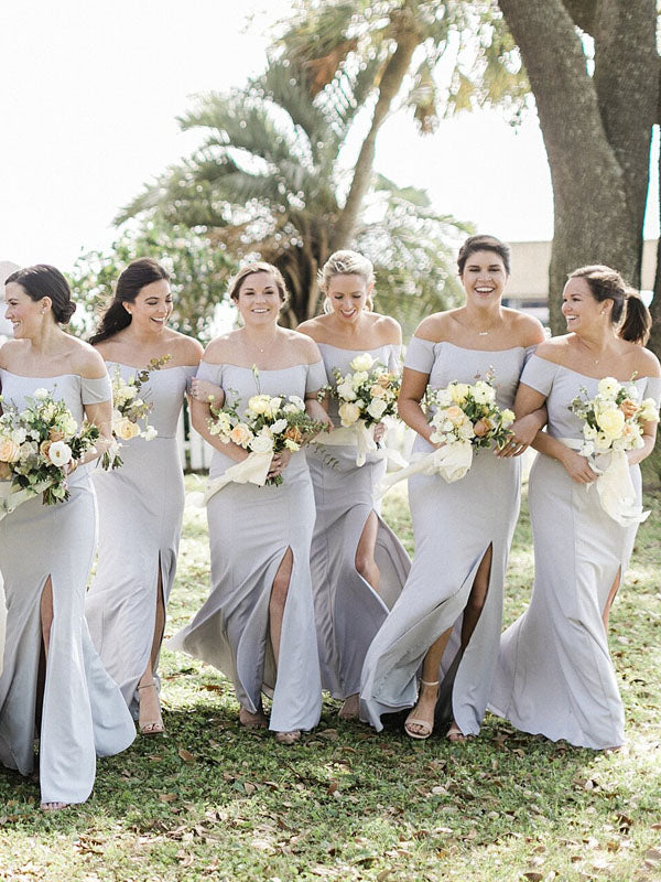 Charming Straight Sleeveless Mermaid Side Slit Long Bridesmaid Dresses.DB10751