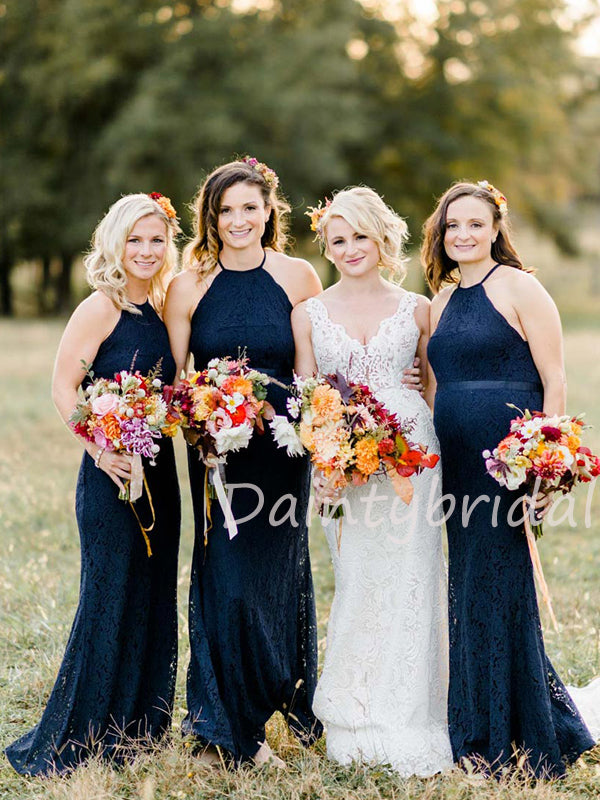 Charming Halter Mermaid Lace Open Back Long Bridesmaid Dresses.DB10467