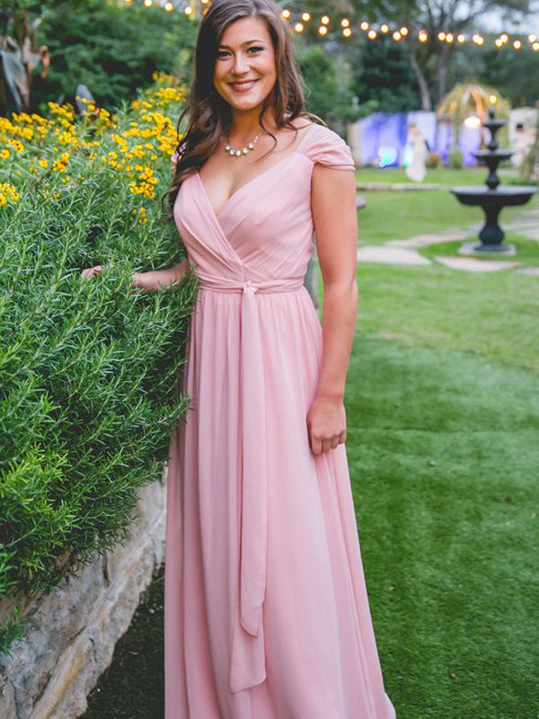 Sexy V-neck Chiffon Slit Floor-length Long Bridesmaid Dresses.DB10653