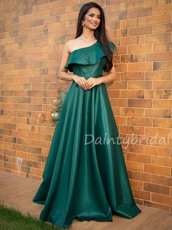 Charming One-shoulder A-line Satin Long Prom Dresses Evening Dresses.DB10437