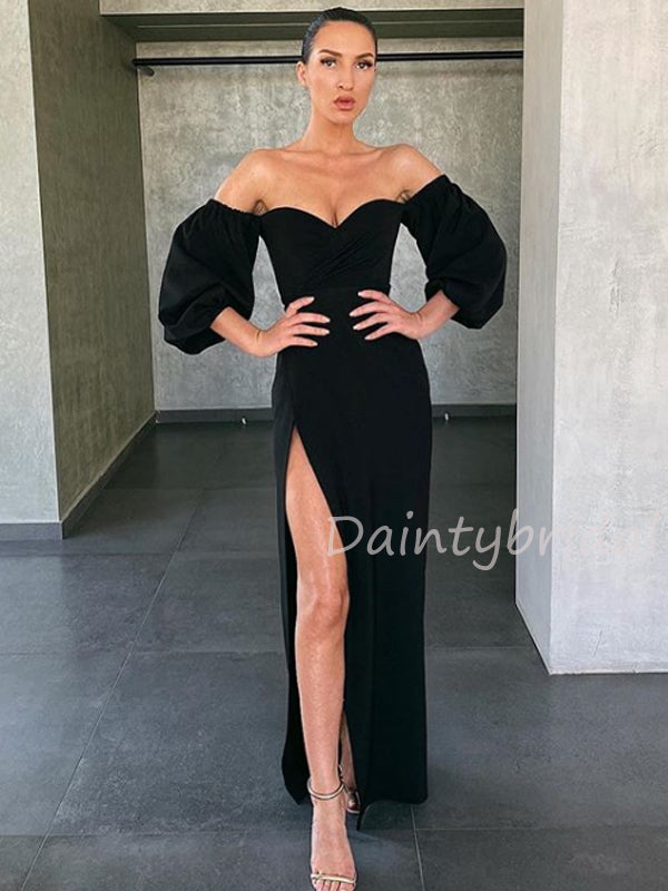 Charming Sweetheart Side Slit Long Prom Dresses Evening Dresses.DB10457