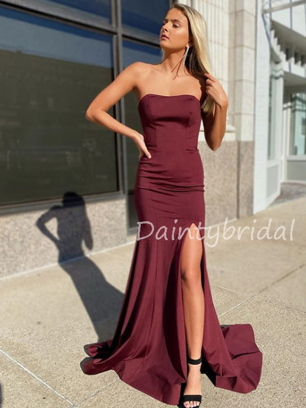 Sexy Straight Side Slit Satin Mermaid Long Prom Dresses Evening Dresses.DB10547