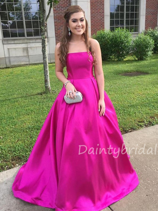 Gogerous Straight A-line Satin Long Prom Dresses Evening Dresses.DB10416