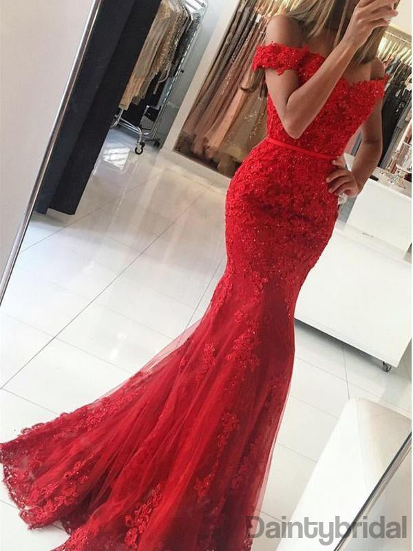 Elegant Red Mermaid Off-shoulder Lace Long Prom Dresses.DB10145